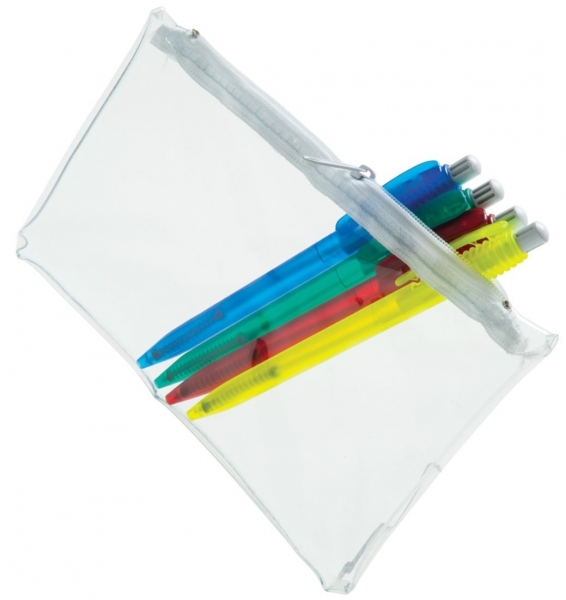 PVC Pencil Case (Clear With White Zip)