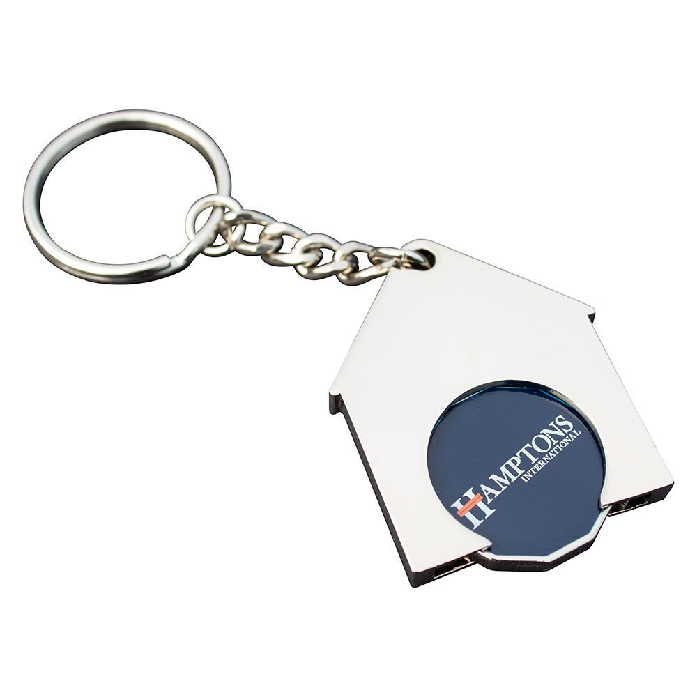 House Shaped Trolley Coin Keyring (Full Colour Print)