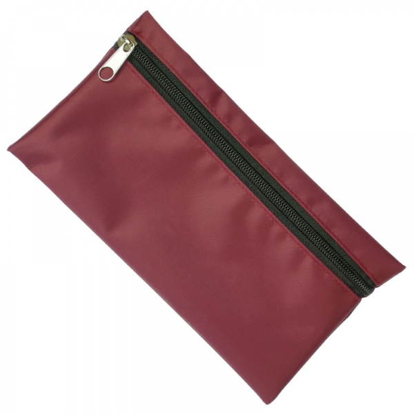 Nylon Pencil Case (Burgundy With Black Zip)