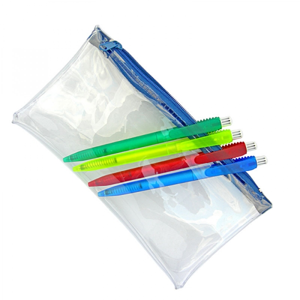 PVC Pencil Case (Clear With Blue Zip)