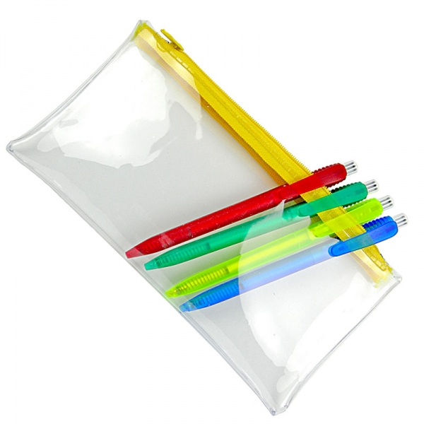 PVC Pencil Case (Clear With Yellow Zip)