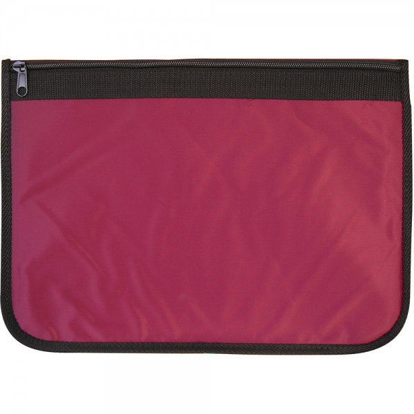 Nylon Document Wallets - Burgundy / Black Edging