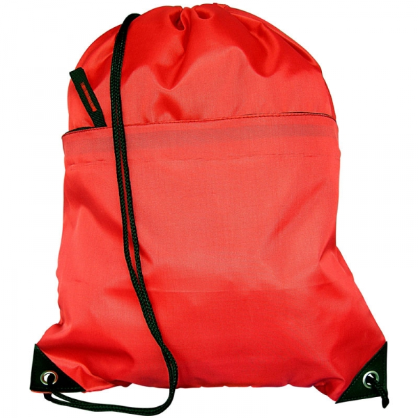 Nylon Drawstring Bag with Zipped Pocket - Red