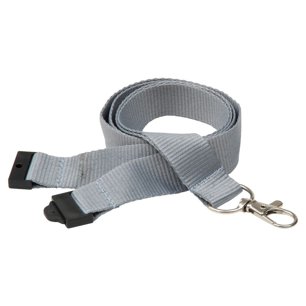 20mm Flat Polyester Lanyard in Cool Grey 7 - UK Stock