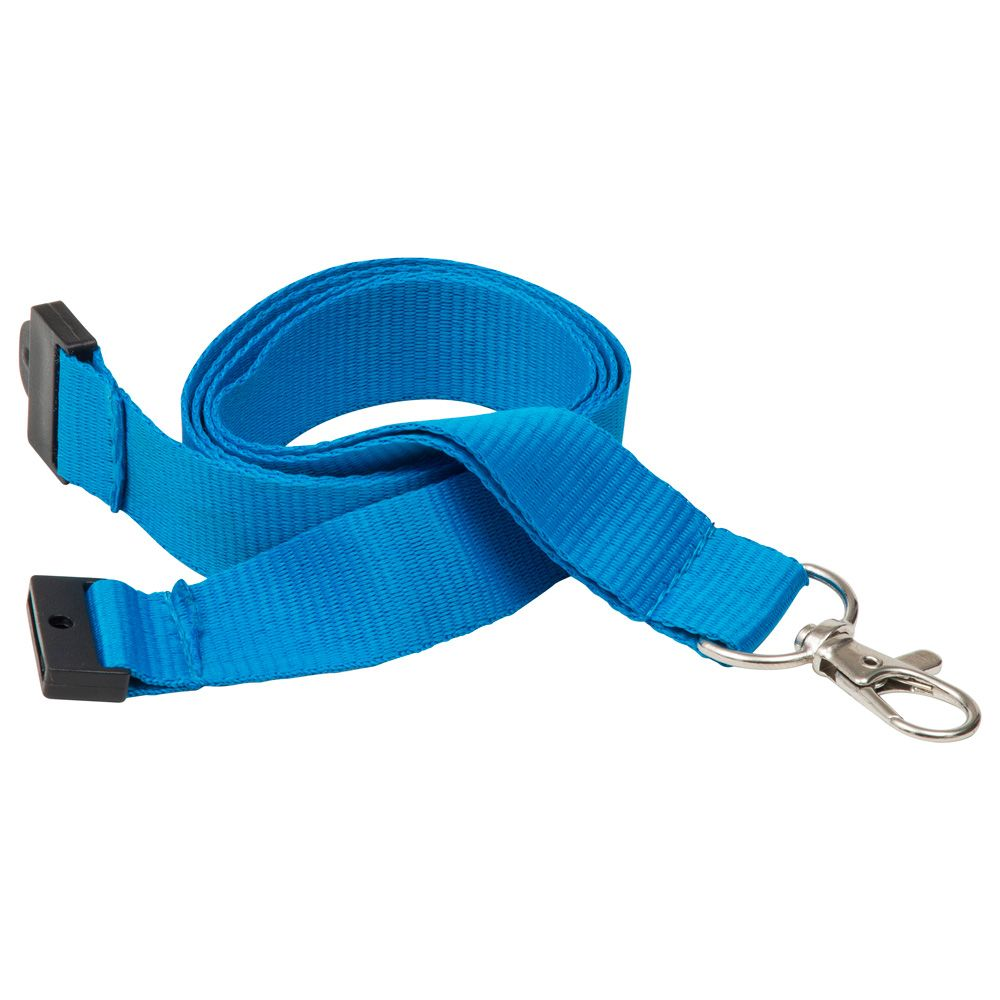 20mm Flat Polyester Lanyard in Blue PMS 2196  UK Stock