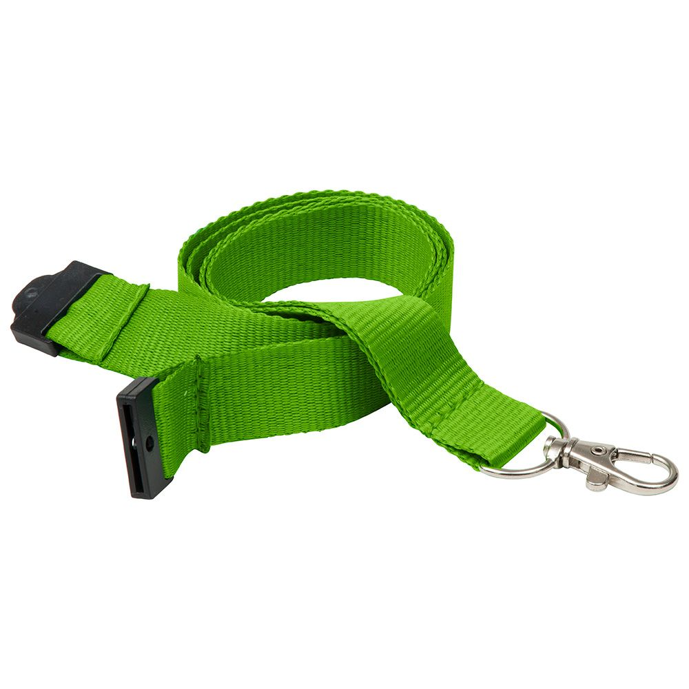 20mm Flat Polyester Lanyard in Green PMS 368 - UK Stock