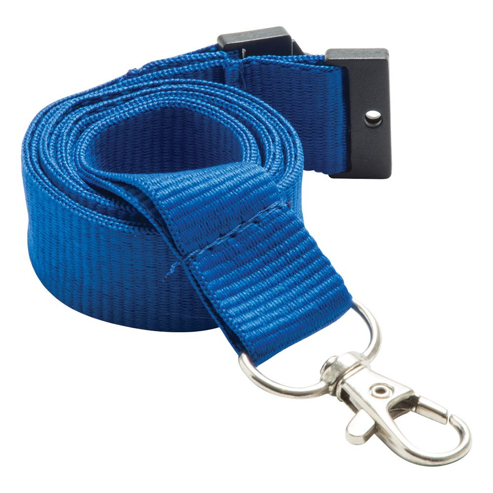 20mm Flat Polyester Lanyard in Reflex Blue - UK Stock