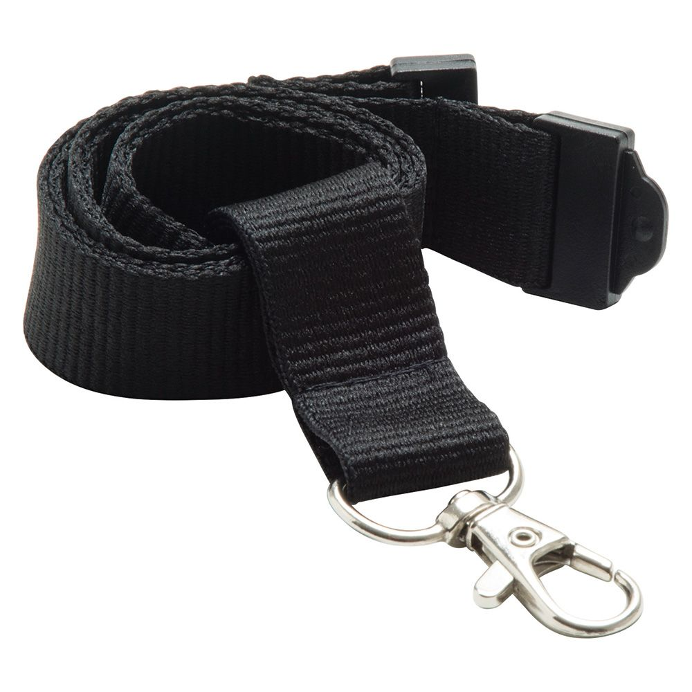 20mm Flat Polyester Lanyard in Black - UK Stock