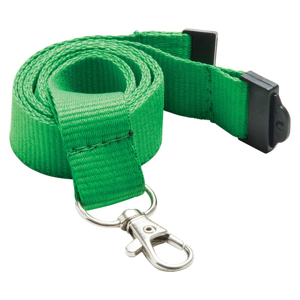 20mm Flat Polyester Lanyard in Green PMS 355 - UK Stock
