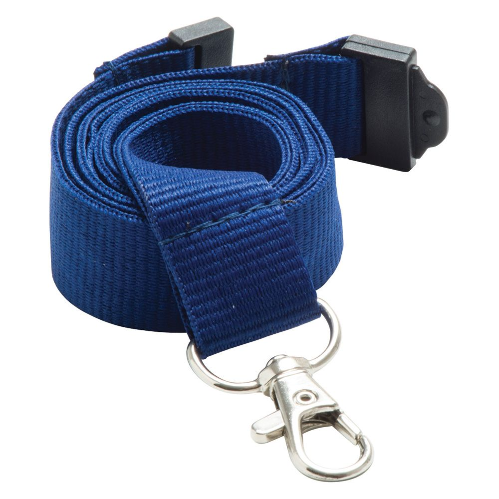 20mm Flat Polyester Lanyard in Navy Blue PMS 281 - UK Stock