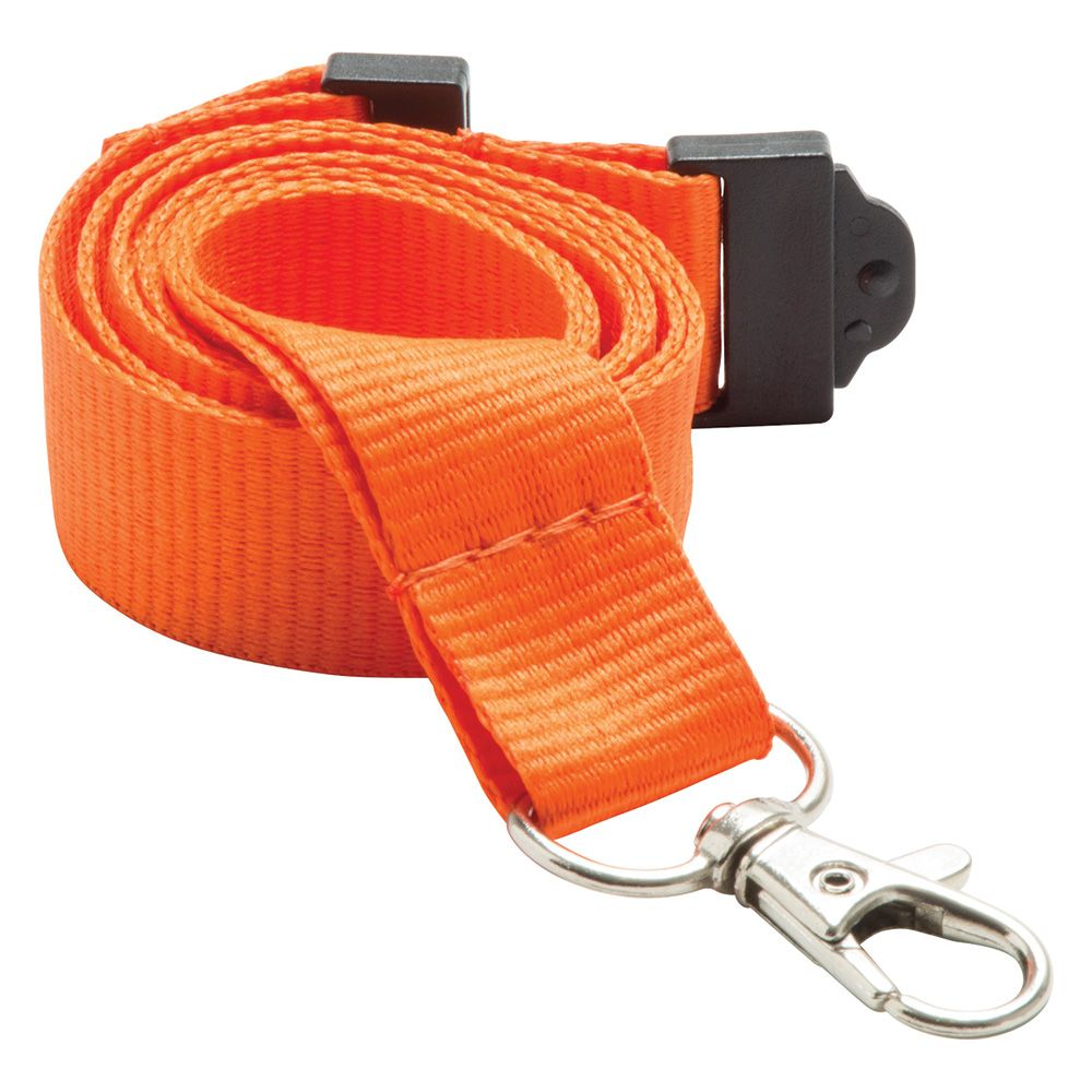 20mm Flat Polyester Lanyard in Orange PMS 021 - UK Stock