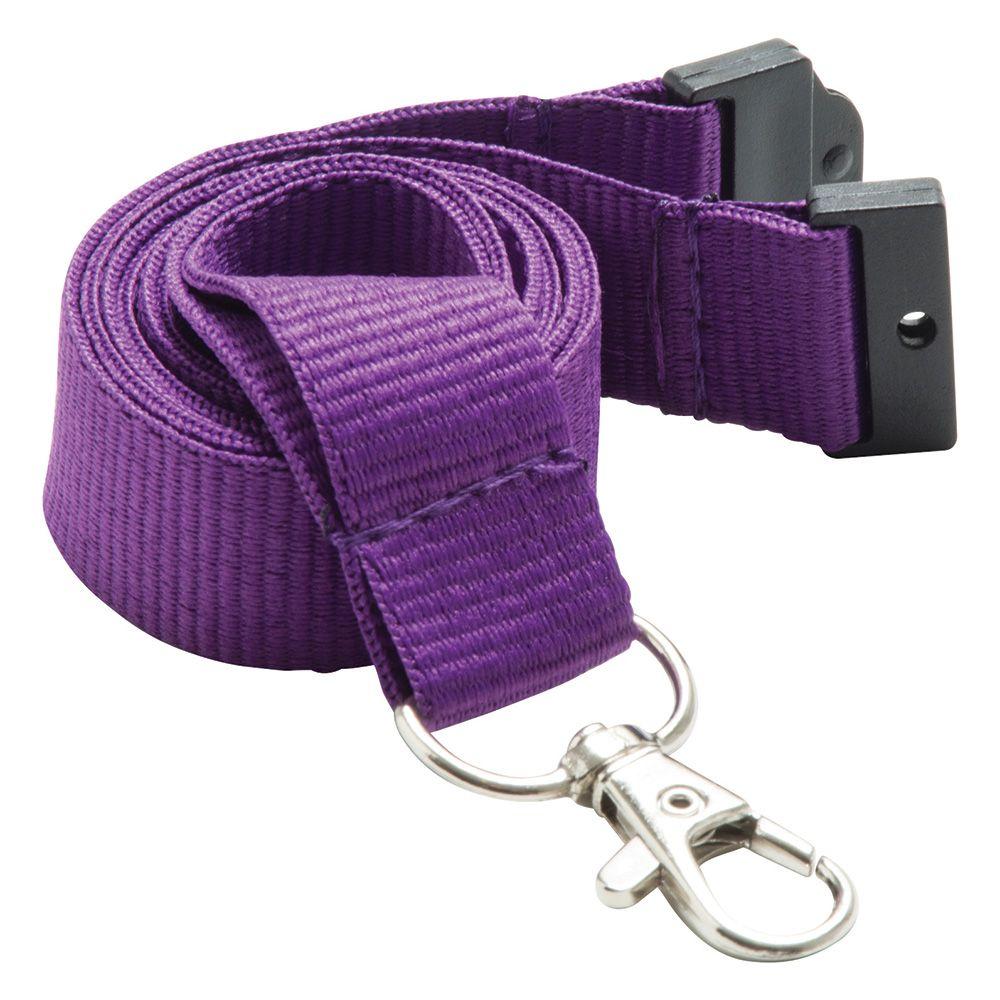 20mm Flat Polyester Lanyard in Purple PMS 268 - UK Stock