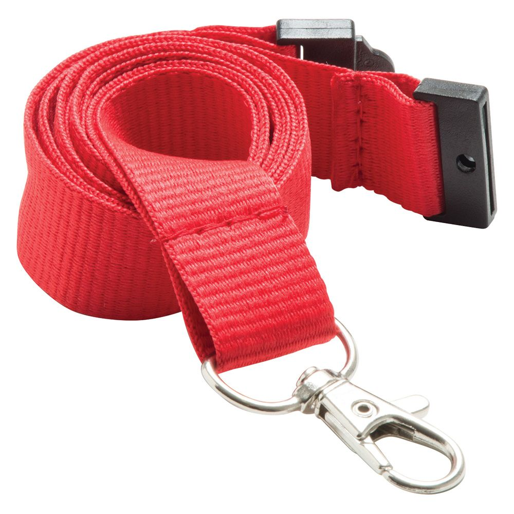 20mm Flat Polyester Lanyard in Red PMS 185 - UK Stock