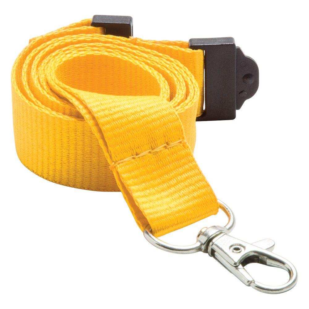 20mm Flat Polyester Lanyard in Yellow PMS 109 - UK Stock