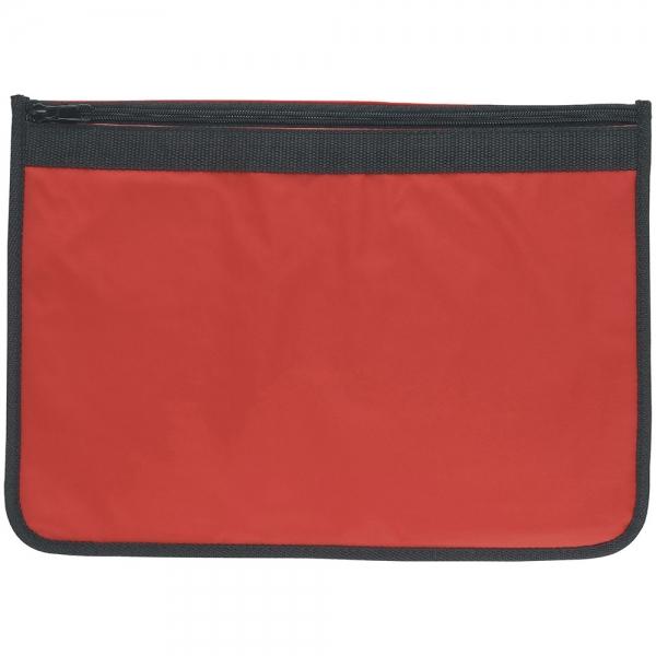 Nylon Document Wallet  Red/Black Edging