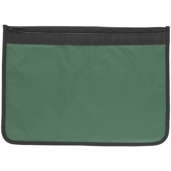 Nylon Document Wallets - Green / Black Edging