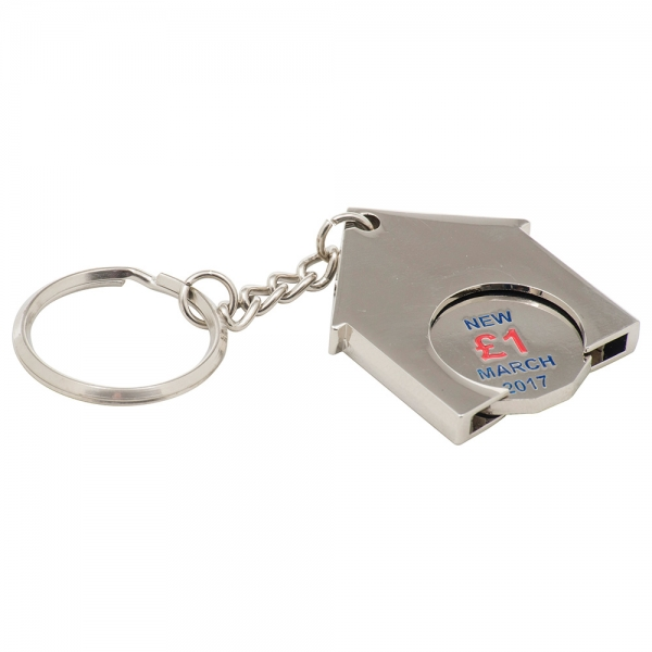 House Shaped Trolley Coin Keyring  Stamped Iron Soft Enamel Infill