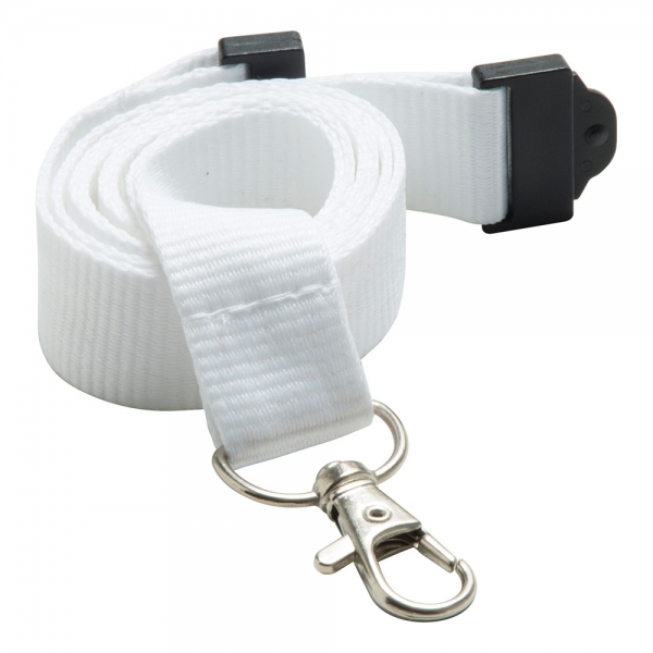 20mm Flat Polyester Lanyard in White - UK Stock