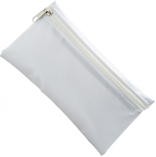 Nylon Pencil Case - White  White Zip