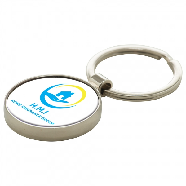 Round Alloy Injection Keyring  UK Stock