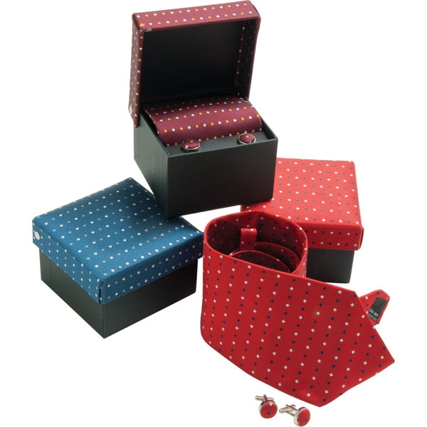 Tie   Cufflink Box Set  Woven Micro Polyester