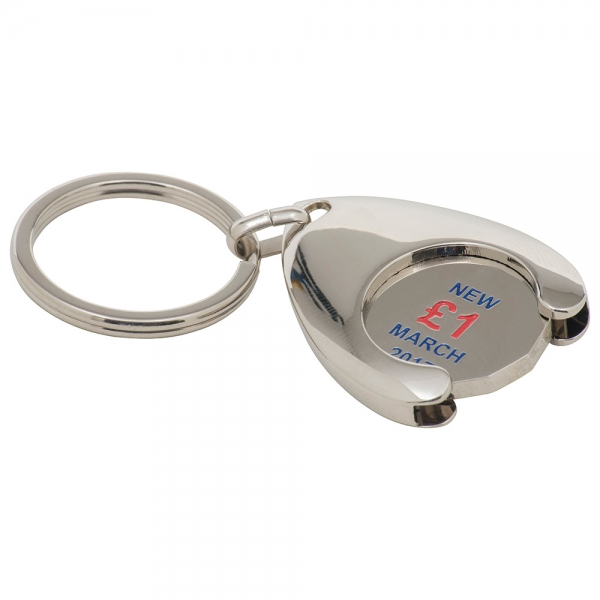 Wishbone Trolley Coin Keyring  Stamped Iron Soft Enamel Infill