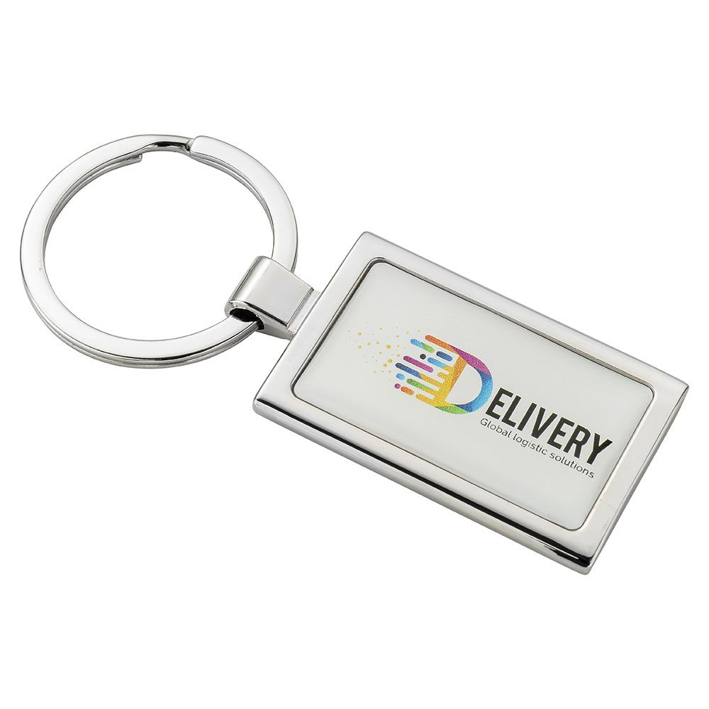 Rectangular Alloy Injection Keyring  UK Stock