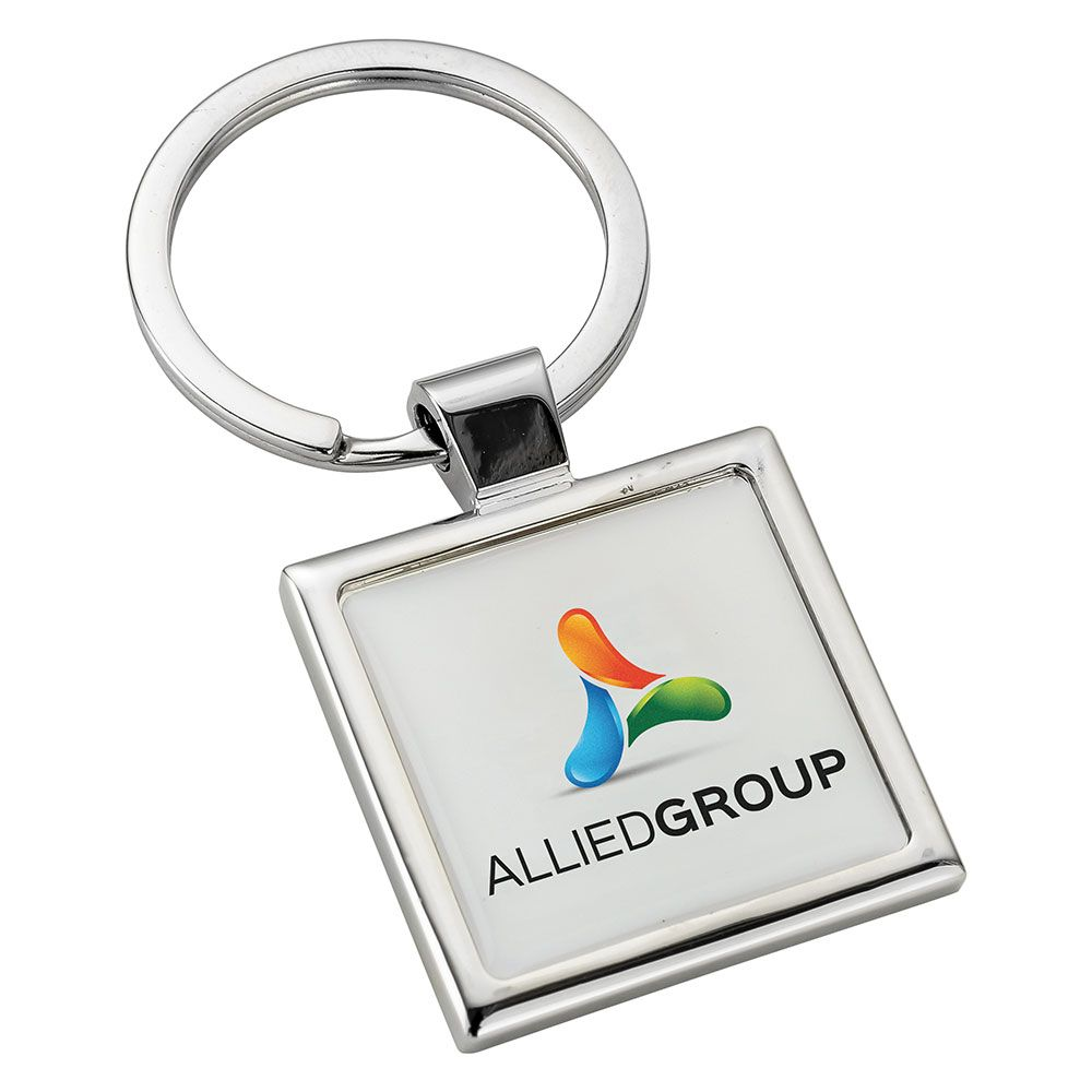 Square Alloy Injection Keyring  UK Stock