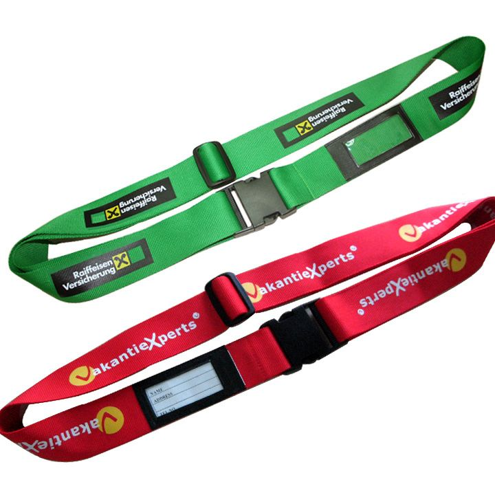 Printed Luggage Strap with Integral Address Tag  Screen Print