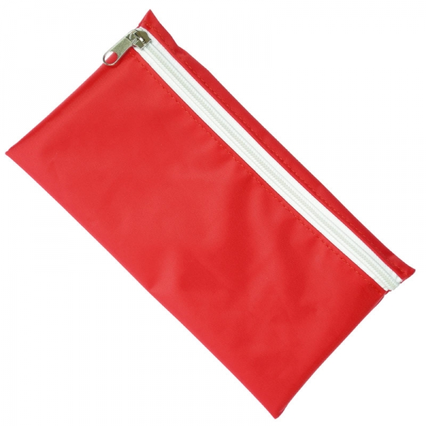 Nylon Pencil Case - Red  White Zip