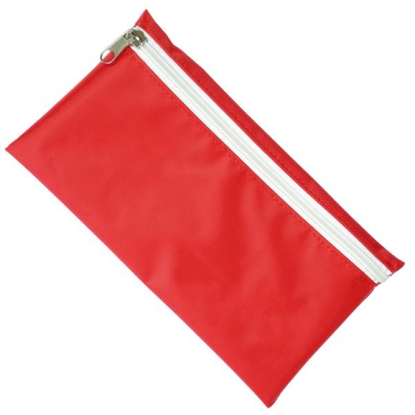 Nylon Pencil Case - Red  White Zip