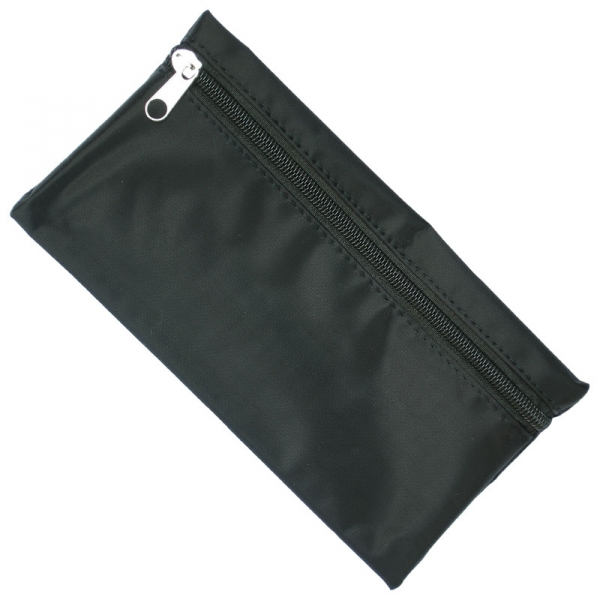 Nylon Pencil Case - Black (Black Zip)