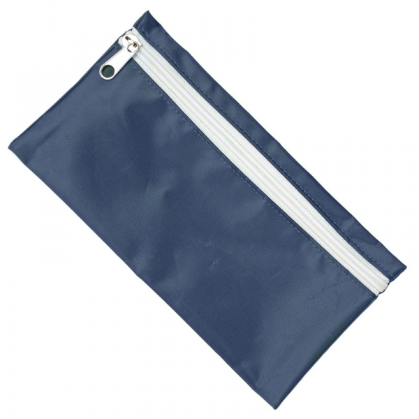 Nylon Pencil Case - Navy  White Zip