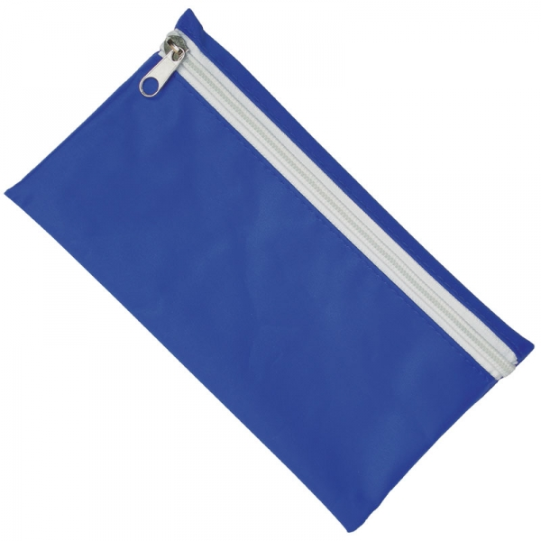 Nylon Pencil Case - Royal Blue  White Zip