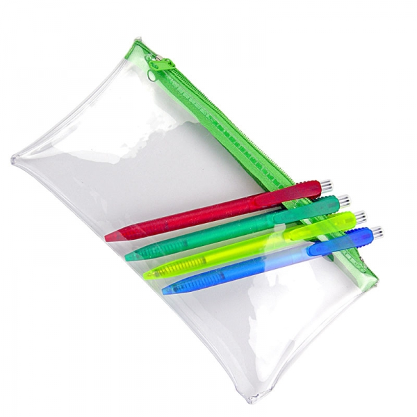 PVC Pencil Case  Clear With Green Zip